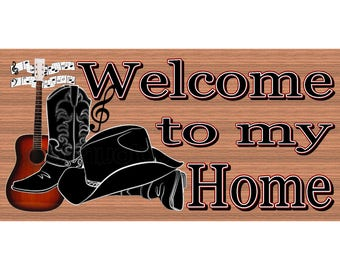 Country Wood Signs  - Welcome Western Sign - GS 2912 -Cowboy Sign