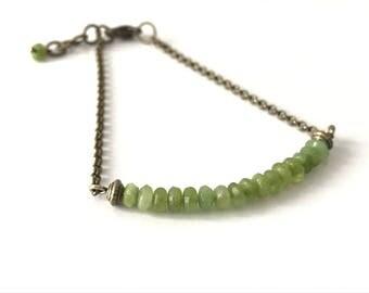 Faceted Peridot gemstones, bronze bracelet Beads Bracelet