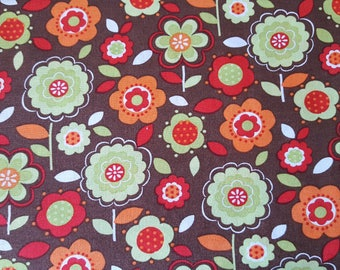 Calico Fabric Traditions Brown Cotton Fabric sold by the yard