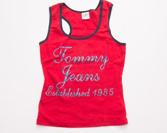 Vintage Tommy Hilfiger Tommy Jeans 90s Red Tank Top