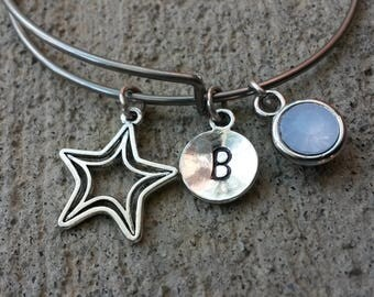 Star Bracelet, 12 mm Initial Charm, Birthstone Charm, Stainless Steel Bangle, Expandable Bangle