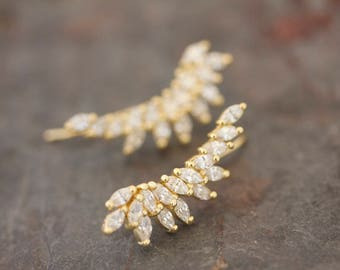 Marquis wing ear climbers in gold