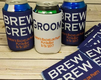 brew crew bachelor party can coolers / custom wedding party gifts / groomsmen gifts / usher gifts / best man gifts / no minimum / free groom