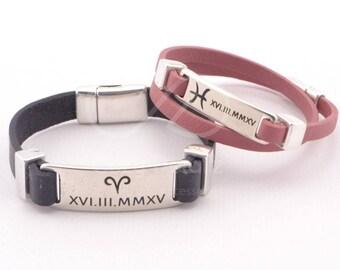 zodiac bracelet, horoscope bracelets for couples, zodiac gift, engraved couples bracelet, personalized couples jewelry, leather bracelet