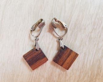 Vintage Striated Wood Tile Clip On Earrings