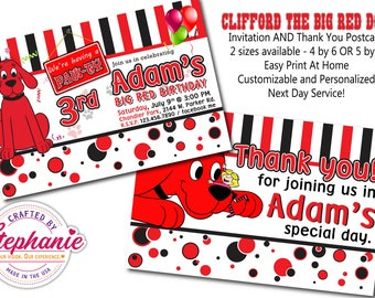 Clifford the Big Red Dog Birthday Invitation and Thank you Postcard Set High Resolution Customized Personalized