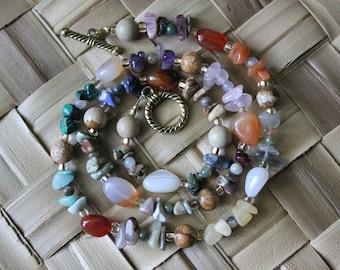 20 Inches Multi-Stone Earthy Stone Chip Boho Stone Beaded Necklace