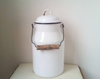 White enamel can - Kitchenalia - vintage White enamel milk can with lid  blue rim enamelware - milk pail pot
