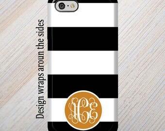 iPhone 8 Case, Monogram, iPhone 6 Case, iPhone 7 Case, iPhone 7 Plus Case, Galaxy S8 Case, Black Stripes, iPhone 8 Plus Case Galaxy S7 Case