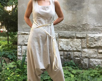 Maxi Jumpsuit, Women Harem Pants, Linen Jumpsuit ,Harem Jumpsuit ,Drop Crotch Pants ,Drop Crotch Jumpsuit Boho