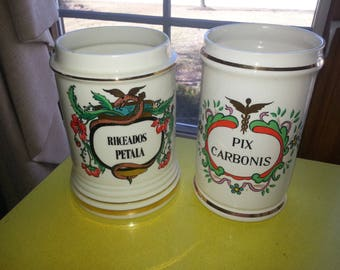 "Vintage PAIR OF TWO Pharmacy Hand Painted Ceramic ""Rhoedos Petala"" and ""Pix Carbonis"" Apothecary Jars"