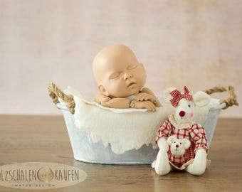 Zinc tub white washed photo prop baby Bowl newborn photo props