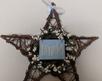 Easter grapevine medium star with Bunnies sign
