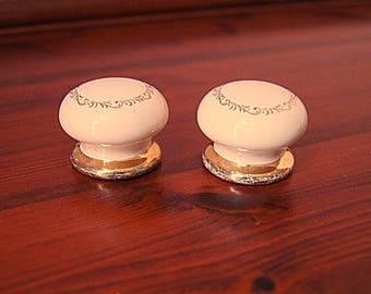 2 Porcelain drawer knobs with gold ornament, vintage ceramic drawer pulls.