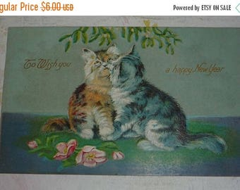 ON SALE Two Kitty Cats Under the Mistletoe Antique New Year Postcard
