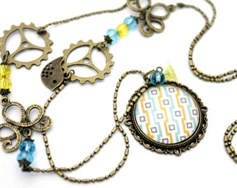 """Bohemian necklace """"Turquoise and yellow squares"""" - retro vintage glass brass bronze"""