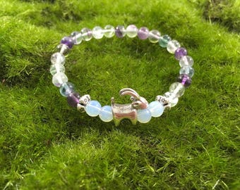 Natural Rainbow Flourite Enchanted Goat bracelet - stretch yoga bracelet - portion of proceeds goes to Goats of Anarchy