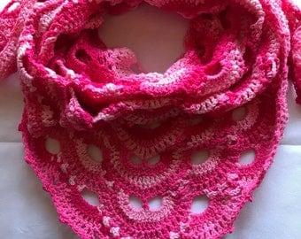 Prayer Shawl, Virus Shawl, Crochet Virus Shawl, Crochet Shawl, Multi Color Shawl, Blues, Crochet Wrap, Crochet Scarf