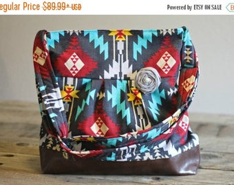 CHRISTMAS SALE Concealed Carry Purse, Medium Messenger Bag, Grey Ikat, Tribal, Azteca, Conceal Carry Handbag, Concealed Carry Purse, Conceal