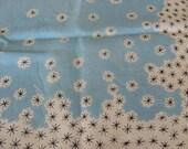 French 1950s Retro Scarf, Vintage silk neckerchief. Aqua blue with black pattern stars/snowflakes on white. Rockabilly fashion, France chic