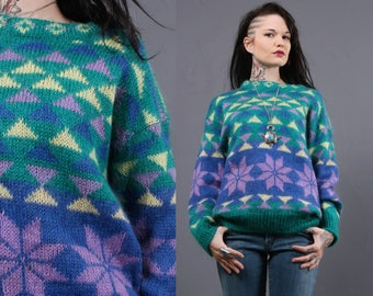Vintage Mohair Sweater Ski Lodge Graphic Geometric Poinsettia 1970s 1980s  M/L