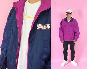 Vintage windbreaker Reebok windbreaker size large 90s jacket 90s windbreaker reversible 1990s 1980s