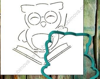 """Cookie Cutter+Stencil """"Wise Owl"""", Sugar Cookie Stencil,  Fondant Stencil, Cookie Lubimova.com, Cookie Stencil"""