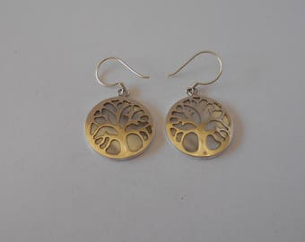 Handmade Sterling 925 silver and mother of pearl earrings.