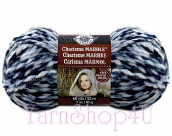 DENIM Super Bulky Charisma Marble Loops And threads, A Blue Twist Chunky Ombre. Thick Soft Acrylic Blue Variegated yarn. 85g/3oz 60yds/53m