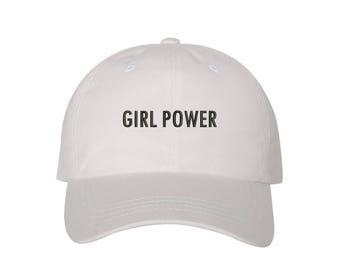 "GIRL POWER Dad Hat, Embroidered ""Girl Power"" Feminism Hat, Low Profile Feminist Girl Gang Baseball Cap Hat, White"