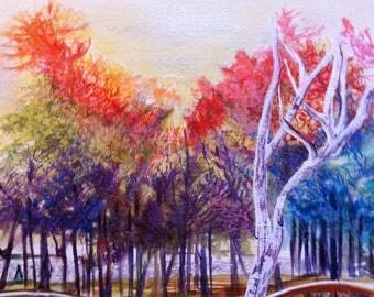 Art painting / Venezia Venice/Giardini garden / original acrylic / art / walk Venetian / garden /Sant' multicoloured Elena/trees /.