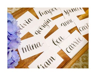 Simple place cards with custom calligraphy