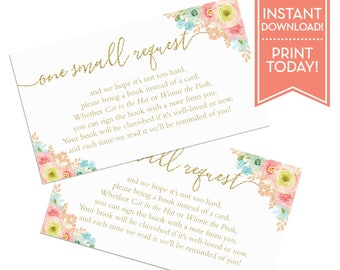 Book Request Card Baby Shower - Gender Neutral - Books for Baby Insert - Princess Baby Shower - Printable Instant Download - LR1058
