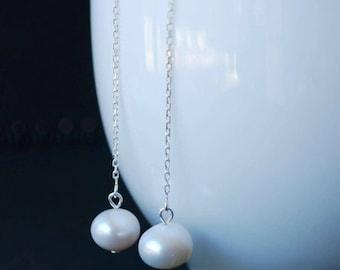 Classic Freshwater Pearl Threader Earrings Sterling Silver, Simple Elegant Design, Freshwater Pearl Thread Earrings