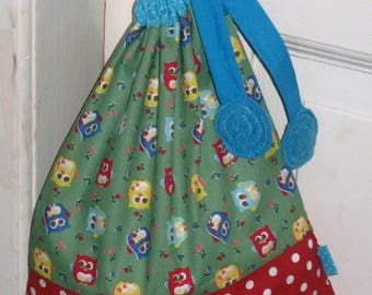 Bag pouch OWL - turquoise blue / green / red
