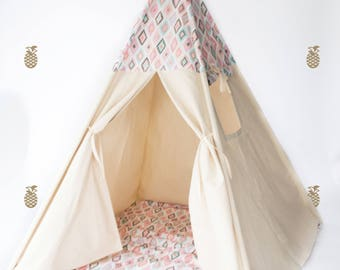 Teepee FULLY ASSEMBLED with POLES >Teepee play tent and play mat - natural canvas with ikat