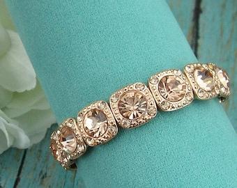 SALE 50% Off Rose Gold Bridal bracelet, wedding bracelet, crystal bracelet, rhinestone bracelet, bridal jewelry, wedding accessories 2088986
