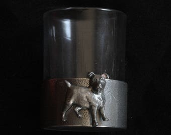 Jack Russel Shot Glass Pewter Based Round 50ml Dog Lovers Gift