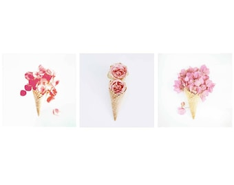 Floral Icecream Prints - Set of 3 - Gallery Wall, Floral Prints, Vintage Photographs, Boho Prints, Nature Photography