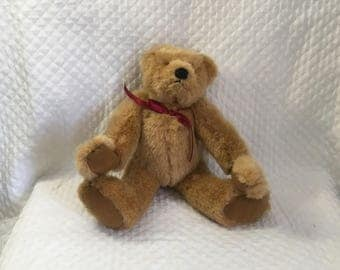 Russ Berrie Jointed Bear, Bearly There Collection, Eureka, Long Armed Plush Bear, RUSS Bear, Red Ribbon