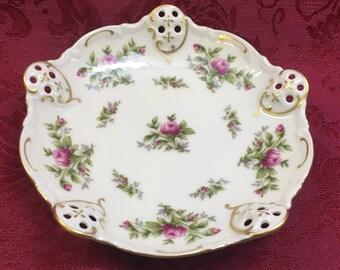 Rosenthal Group Classic Rose Dish, Pierced Dish, Moss Rose Pattern, Gold Trim, Germany, Bon Bon Dish, Nut Dish, Trinket Dish