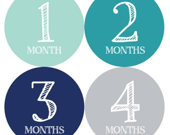 Teals and Gray Baby Monthly Stickers - Baby Month Milestone Stickers, Month by Month Stickers, Baby Age Stickers, Growth Stickers, Month Day