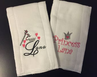 Personalized Set of 2 Princess Baby Burp Cloths