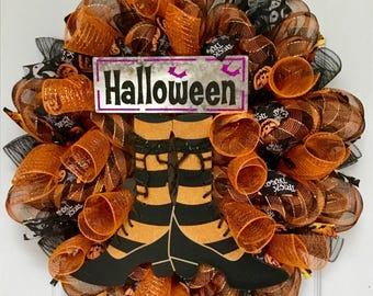 Halloween Witch Shoes With Laces Handmade Deco Mesh Wreath