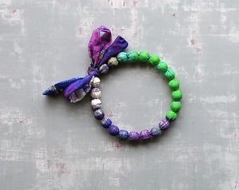 Color block necklace, fabric wrap necklace, deep purple jewelry long purple necklace, bold chunky textile necklace, evening t shirt necklace