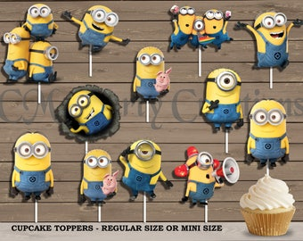 Minions Cupcake Toppers, Die Cuts, Birthday Party Cupcake Toppers, FAST TURNAROUND