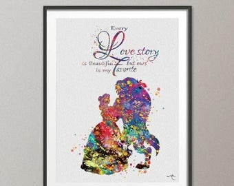 Beauty and the Beast Love Quote Belle Fairy Tale Princess Watercolor Print Nursery Wedding Gift Girls Wall Art For Kid Wall Hanging [NO 537]