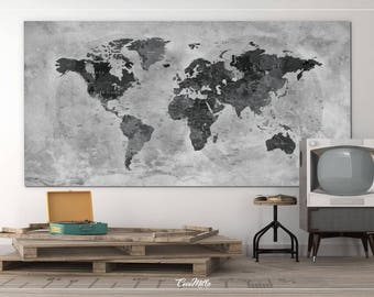 Rustic world map etsy push pin world map canvas print extra large world map push pin travel gumiabroncs Image collections
