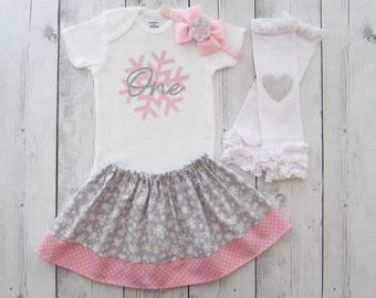 Winter ONEderland First Birthday Outfit in pink and silver - girl first birthday outfit, winter birthday, pink silver snowflake