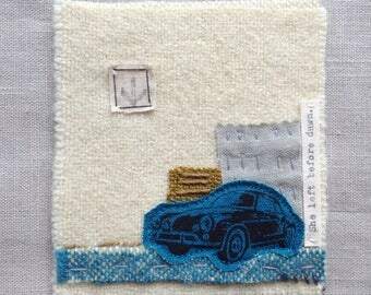 She left before dawn - Unframed Textile Art, Textile Collage, Handmade Textile Art, Irish Textile Collage, Porsche – Handmade in Ireland